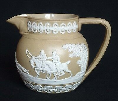 19thC Copeland Drabware Relief Moulded Jug - Hunting Scenes