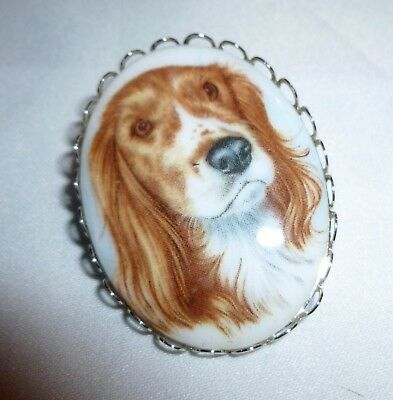 Vintage English Springer Spaniel Brooch Pin Jewelry Dog
