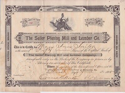 1895 Sailor Planing Mill and Lumber Co stock certificate No 12 (Pennsylvania)