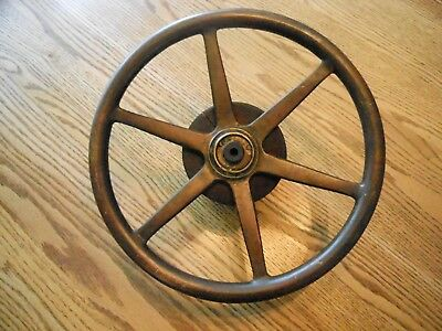 Antique Brass Ship Yacht Wheel Maritime Nautical Decor Boat Watercraft
