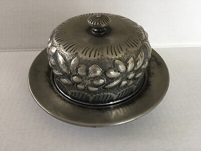Antique Jacob J Morch Brooklyn NY ED Eastern District Nickel Silver? Butter Dish