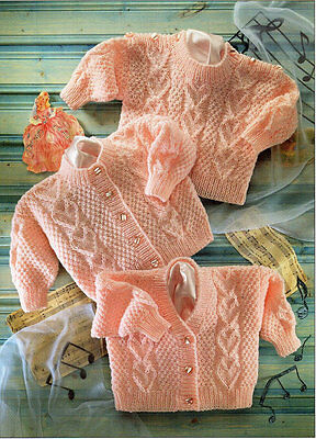 Baby Cardigans & Sweater Baby Knitting Pattern Copy  Heart Design 8 Ply jumper