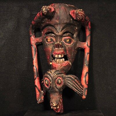 Early-to-Mid-20th Century Mexican Folk Art Carved Copal Wood Mask; Evil Spirit?
