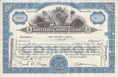 1955 Artloom Carpet Co stock certificate (blue)