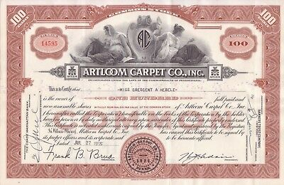 1955 Artloom Carpet Co stock certificate (brown)