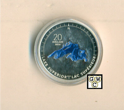 2014Lake Superior-Great Lakes' Blue Enameled Prf $20 Silver 1oz .9999(13331)OOAK