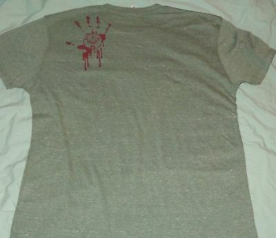 Jagermeister T Shirt..Grey - Bloody Hand Print & Deer Head on Back...Men's