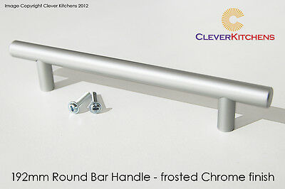 25 x NEW Kitchen Door/Drawer metal HANDLES 192mm Round T-bar. Frosted Chrome.