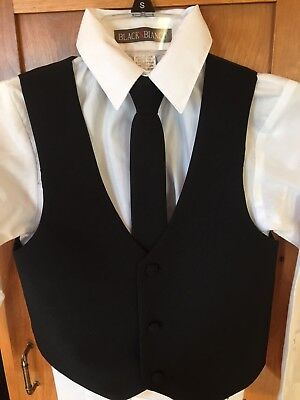 Boys Formal Dressy Christmas Black 5-piece Suit with tie, size 8 GREAT CONDITION