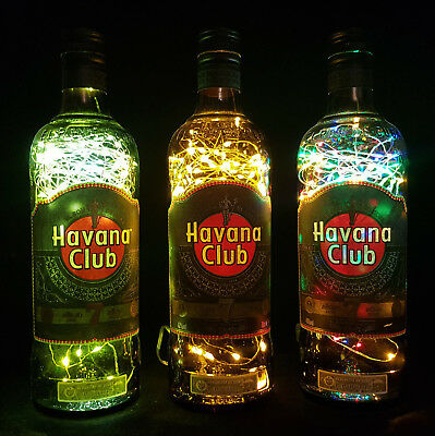 Havana Club 7 - Flaschen Lampe mit 80 LEDs Farbauswahl Upcycling Geschenk Idee