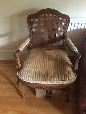 Antique cane chair with horse hair seat cushion and padded arm rests