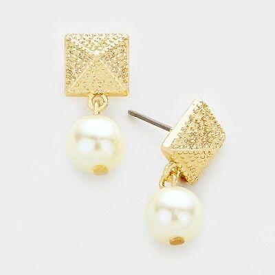 Women Gold Metal Pyramid & Pearl Earrings * Post Back *Fashion Jewelry * USA
