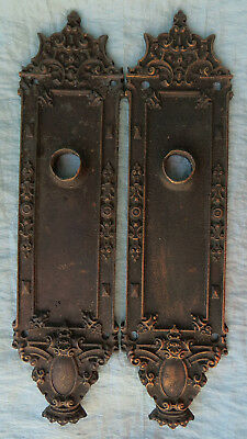 PAIR Old Vintage Antique CAST BRONZE Ornate Door Back Plates Scrolly w Crown