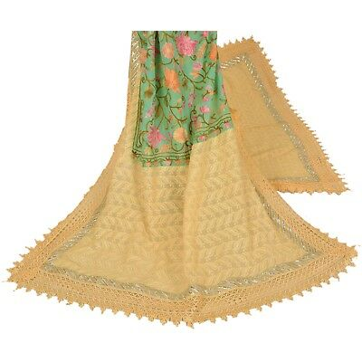 Sanskriti Vintage Dupatta Long Stole Georgette Embroidered Veil Yellow Paisley