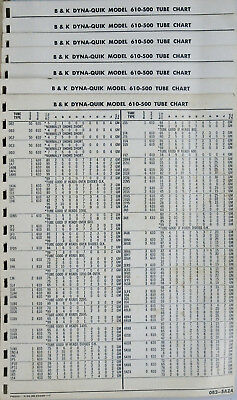 B & K Dyna Quik Model 610-500 TUBE CHART for B & K Model 610 Test Panel