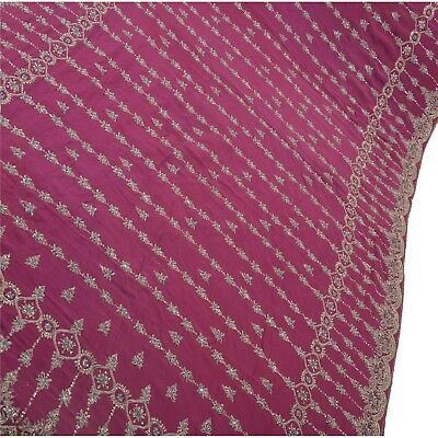 Sanskriti Vintage Hand Beaded Saree Pure Crepe Silk Purple Sari Sequins Zardozi