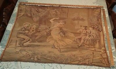 Antique Tapestry of a Spanish Gypsy Dancer 36 x 36 - Priced Reduced