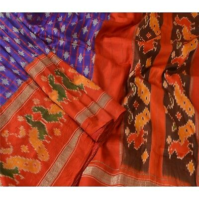 Sanskriti Vintage Indian Saree Woven Patola Sari Fabric Pure Silk Soft Purple
