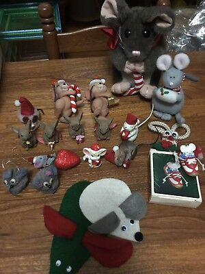 Lot Christmas mouse ornaments and stuffed toys. Some vintage.