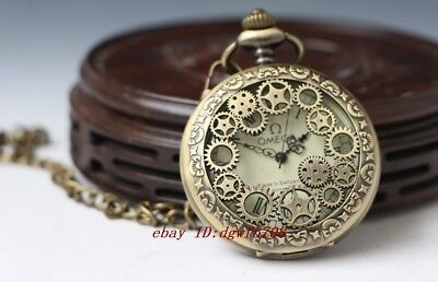 Chinese sculpture mechanical an pocket watch gear lid