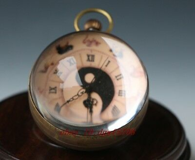 Chinese  brass clock round spherical glass mechanical pocket watch