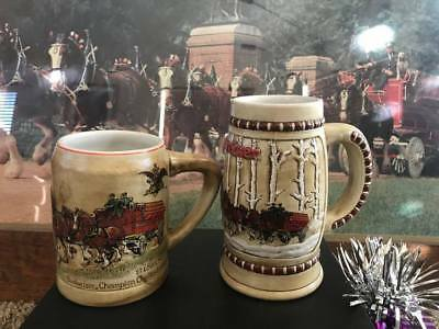 1980 CS19 & 1981 CS50 Budweiser Holiday Steins Mugs 1 & 2 in the Holiday Series