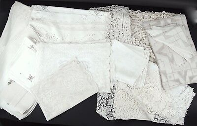 Large Lot of Antique Lace Embroidered Linen Table Runners, Napkins, Placemats