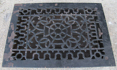 "Fantastic Antique Architectural Cast Iron Floor Heat Grate Vent 13.5"" x 9.75"""