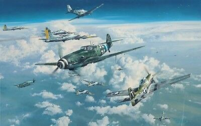 Headlong Into the Clash, by Robert Taylor - Me109 & P-51 Aviation Art