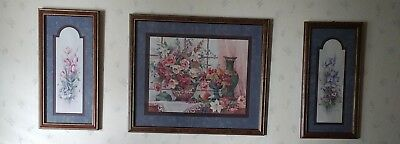 "Home Interiors SET 3 PICTURES IRIS & LILLY  by BARBARA MOCK  22""X26"" & 22""×11"""