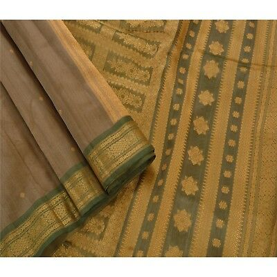 Sanskriti Vintage Indian Saree 100% Pure Silk Brown Woven Craft Fabric Sari