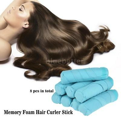 8pcs Sleep Style Soft Curler Hair Care Rollers Long Curly Hairstyling Tool K2F8