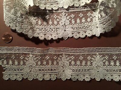 19th C. handmade Point de Gaze needle lace pair sleeve ruffles COSTUME COLLECT
