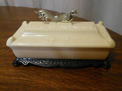 Vintage Asian Bakelite Plastic Chinese Dragon Rooster Large Trinket Jewelry Box
