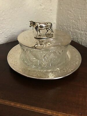 Wonderful Antique Sheffield Silver Figural Cow 3 Piece Butter Cheese Holder Mint