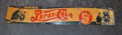 Rare 1930s Pepsi Cola Tin Sign - Double Dot - Pepsi and Pete - Cops - Original