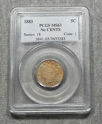 "1883 Liberty ""V"" Nickel, No CENTS, Graded MS63 By PCGS"