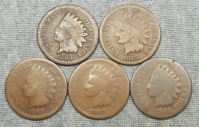 Lot Of 5 Lower Grade Indian Head Cents - 1864 BR, 1865, 1866, 1867 & 1868