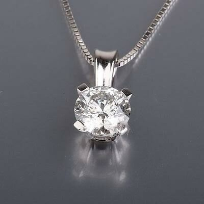 Solitaire 1 Ct Round Shape Diamond Pendant And White Gold Necklace Chain Set