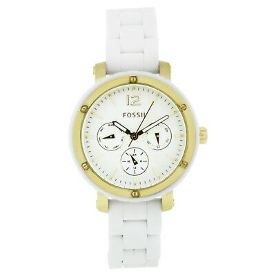 Fossil Women's BQ9405 Silicone Analog with White Dial Watch USA SELLER