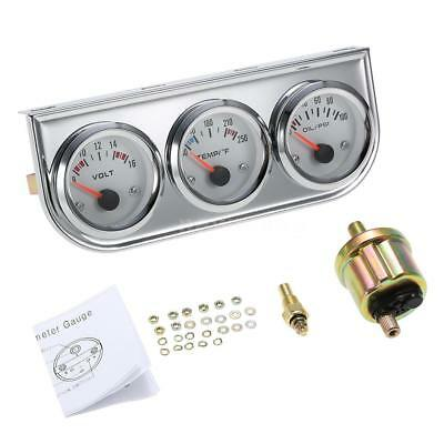 "2"" 52mm Voltmeter+Water Temp +Oil Pressure Gauge Meter LED Light Fahrenheit Z8P5"