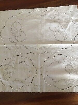 Unworked Vintage Traced Linen Grub Rose Ribbon 3 Doily Duchess set to Embroider