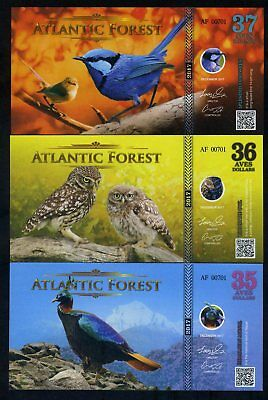 SET Atlantic Forest 35;36;37 Aves Dollars 2017 - Monal, Fairywren, Owl