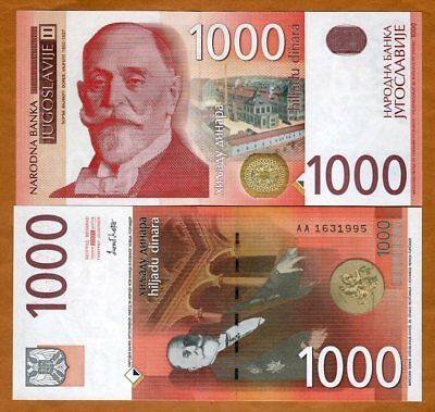 Yugoslavia 1000 Dinara, 2001, P-158, AA-Prefix, UNC > The Last Issue, Scarce