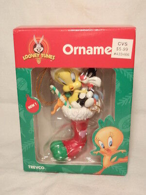 Looney Tunes Ornament: Sylvester & Tweety in Christmas Stocking Trevco 1999