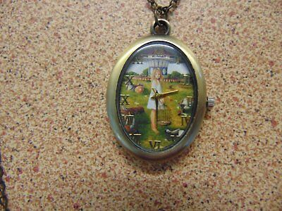 1970s Alice in Wonderland Carousel Pendant Watch with Chain