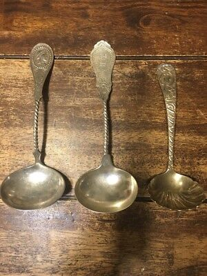 Hall Hewson & Brower Silver Twisted Handle Ladle, Medallion Pattern Coin Silver