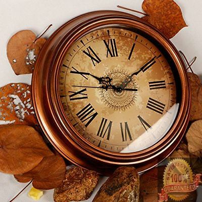 Vintage Wall Clock Home Antique Decor Silent Non-ticking Roman Numeral Brown NEW