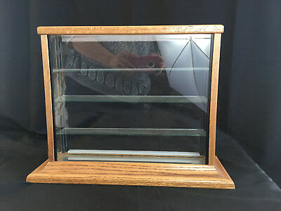 Small Display case OAK and Glass w 3 shelves- Hotwheels or tiny items showcase