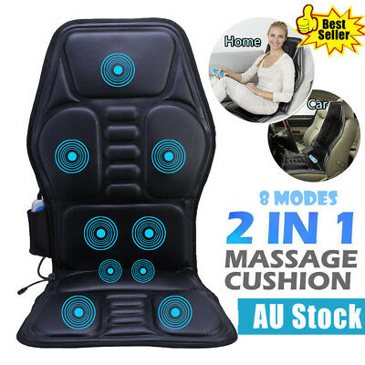 9 Motor Massage Back Seat Pad Cushion Car Home Massager Chair Built-in Heater AU